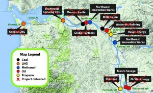 A map of the proposed fossil fuel terminals in the Columbia River Gorge. Photo: Columbia Riverkeeper