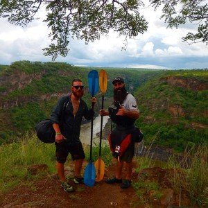 Tyler and Trevor hiking out from Number 10 on the Zambezi