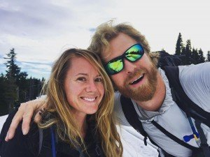 John and Katie Abercrombie on a back country snow adventure in the Mt. Hood area