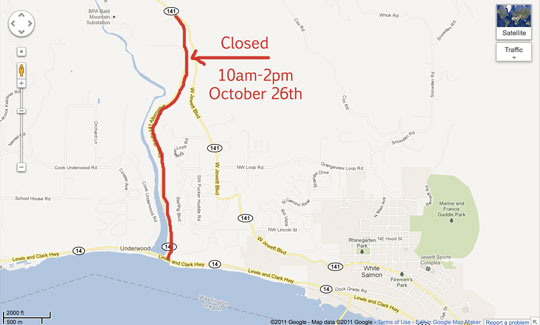 Safety Closures during the Condit Dam blast on October 2th