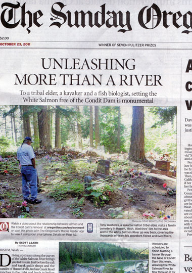 Oregonian features Condit Dam on Sunday's front page story!