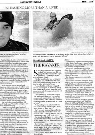 "Susan Hollingsworth featured as ""The Kayaker"" in the Oregonian's Condit Dam story"