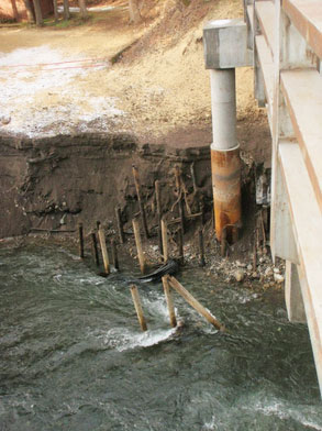Old bridge pillars just keep getting taller as the sediment gets swept downstream.  Photo: Heather Herbeck