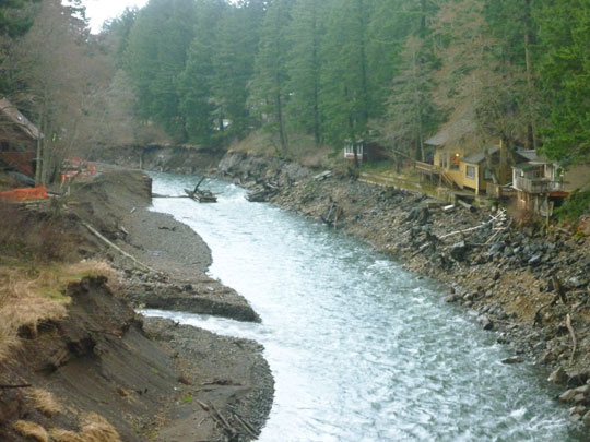 Buck Creek's river banks are steeper than every before and reminents of a former bridge have begun to appear upstream.