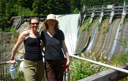 Author touring Condit Dam facilities with Megan Hooker of American Whitewater