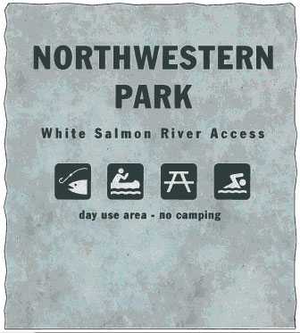 New signage for Northwestern Lake, post Condit Dam removal