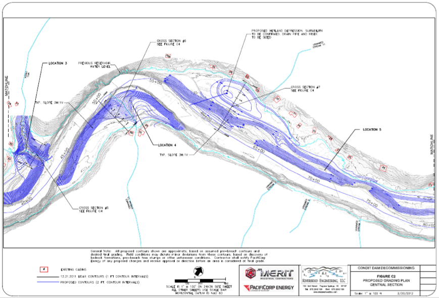 PacifiCorp's diagram of grading locaitons on the middle section of the new White Salmon River. Source: 120 Day Dewatering Assessment and Management Plan