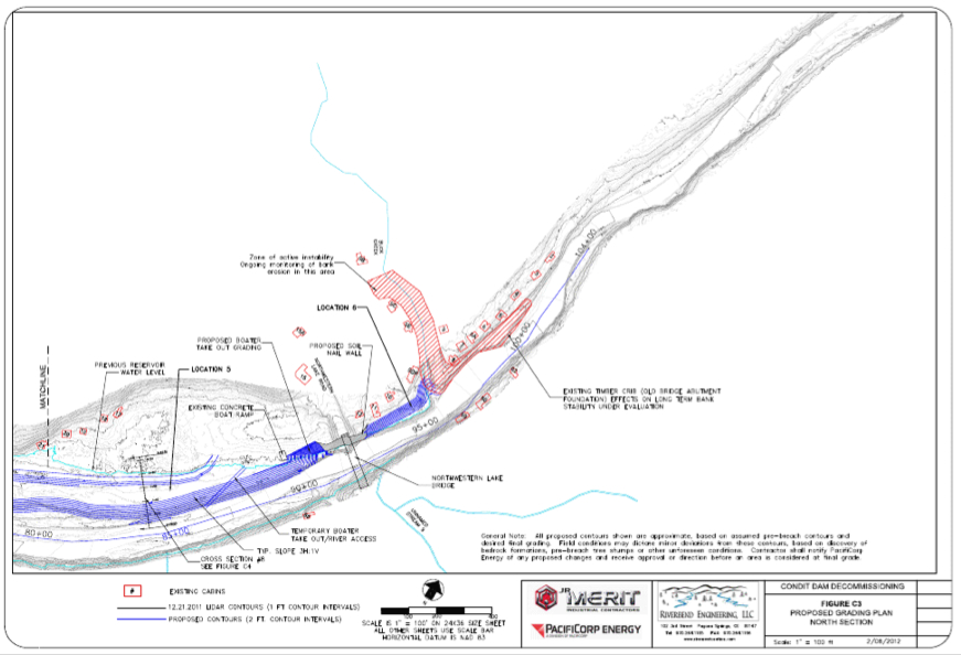 PacifiCorp's diagram of grading locaitons on the top section of the new White Salmon River. Source: 120 Day Dewatering Assessment and Management Plan