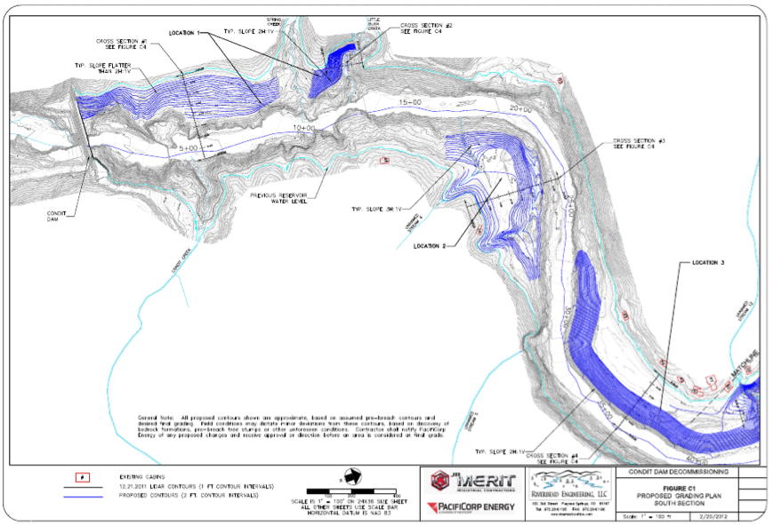 PacifiCorp's diagram of grading locaitons on the lower section of the new White Salmon River. Source: 120 Day Dewatering Assessment and Management Plan