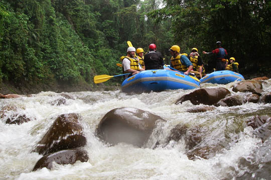 White water rafting in Costa Rica is unbeatable: warm water, great rapids, and spectacular scenery.