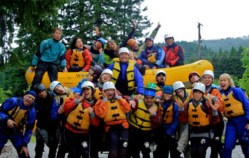 First Descents campers even get to raft the class III-IV rapids on the White Salmon River
