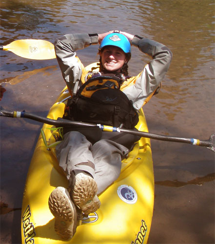 Whitewater kayakers use their boats to travel into the wilderness with self-support kayak tripping.