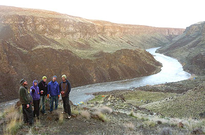 Hiking to a nearby ridge during first night's camp on the Owyhee River, Wet Planet staff trip 2011