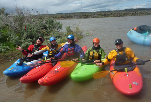 Kayakers reading to venture onto the Owyyhee River, Wet Planet staff trip 2011