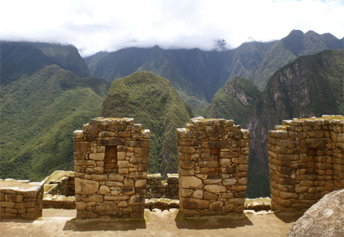 Machu Picchu sits high in the Andes, a feat of engineering by the Incan people