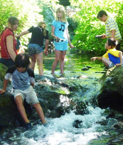 Kids play in Rattlesnake Creek during the summer kid's kayak course at Wet Planet