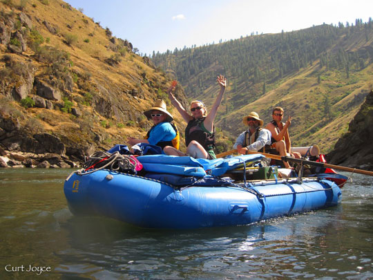 Rafting out down the flatwater on the Lower Salmon River kayak trip.