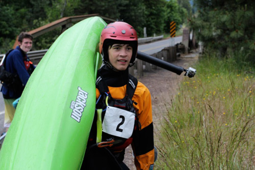 Kayak racers took to the Middle White Salmon River with all their determination.