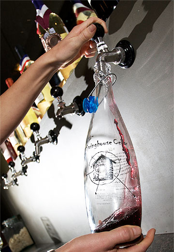Wine in the tap room at Springhouse Cellars, Hood River OR