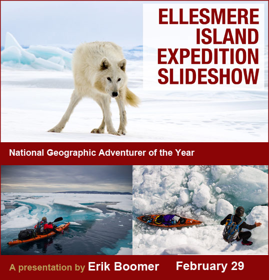 Erick Boomer presents a slideswho from his expedition around Ellsemere Island in 2011.
