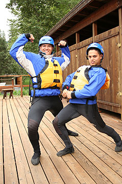 Zach Lee and Michael Enriquez get pumped up for their river adventure down the White Salmon.