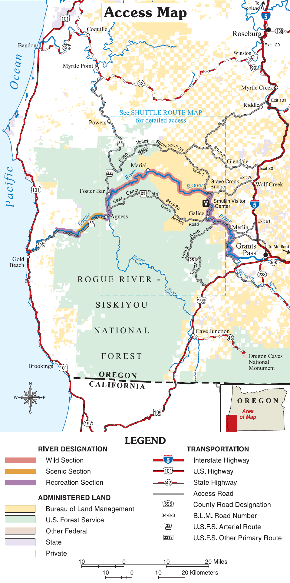 By Bureaa of Land Management and US Forest Service (w:Image:Rogue river access map.png), via Wikimedia Commons
