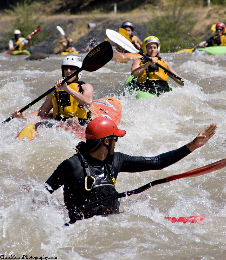 Wet Planet whitewater kayaking instructor Brian Lee leading a group on Washington's Klickitat River