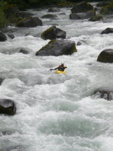 Kayak Instructor Susan Hollingsworth descending yet another river to raise money for First Descents