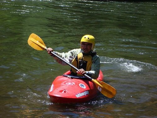 Gordon taking a Wet Planet Kayaking class on Northwestern Lake on White Salmon River, Washington