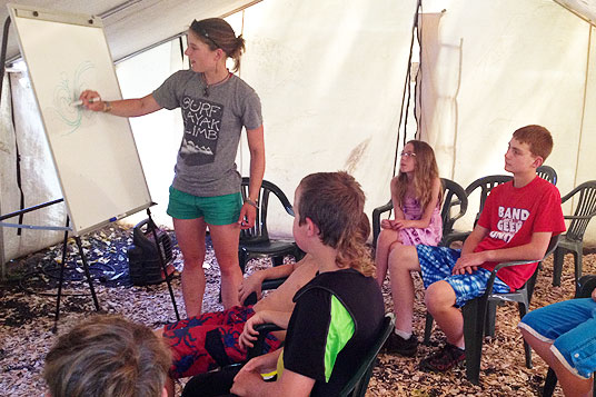 Libby teaches at Kids Camp at Wet Planet