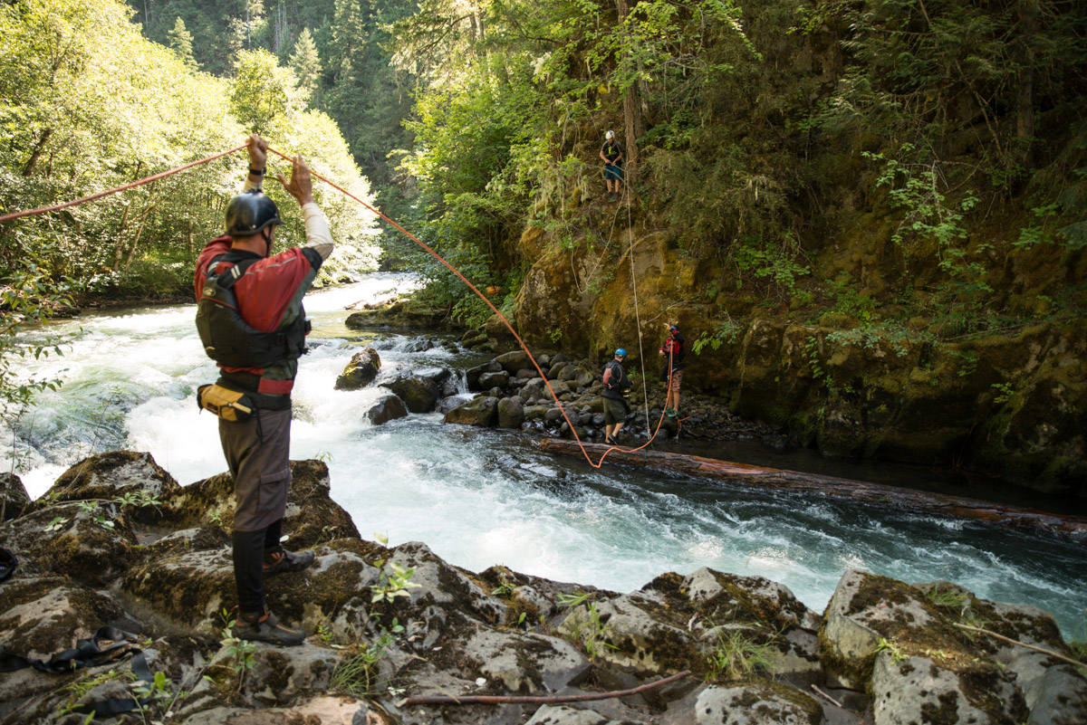 Wet Planet crew uses the new procedure to remove wood on the Upper White Salmon River.