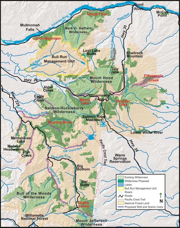 Mt Hood National Forest map, compliments of Crag.org