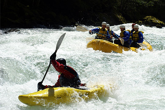 Support kayakers and raft on a Wind River rafting trip
