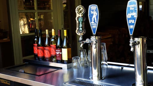 Local wine and beer on tap