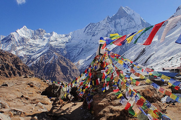 Another view from the Annapurna Base Camp. Prayer flag memorials to climbers who have died while climbing Annapurna are located throughout the Annapurna Sanctuary.