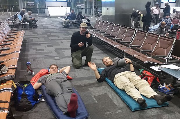 The glamorous life of an international kayaker. The crew settling in for our 18 hour layover in the Doha International Airport.