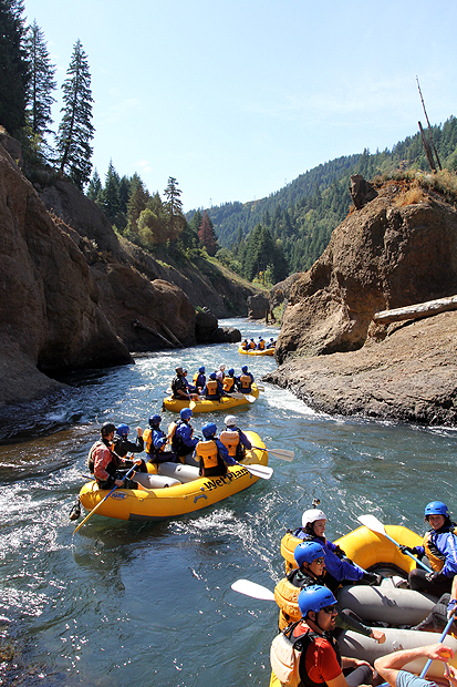 Rafting through the footprint of Northwestern Lake on the White Salmon