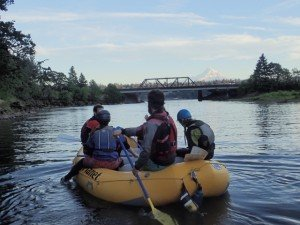 Approaching the Columbia River with Mt Hood in the background after a full day of rafting on the White Salmon River