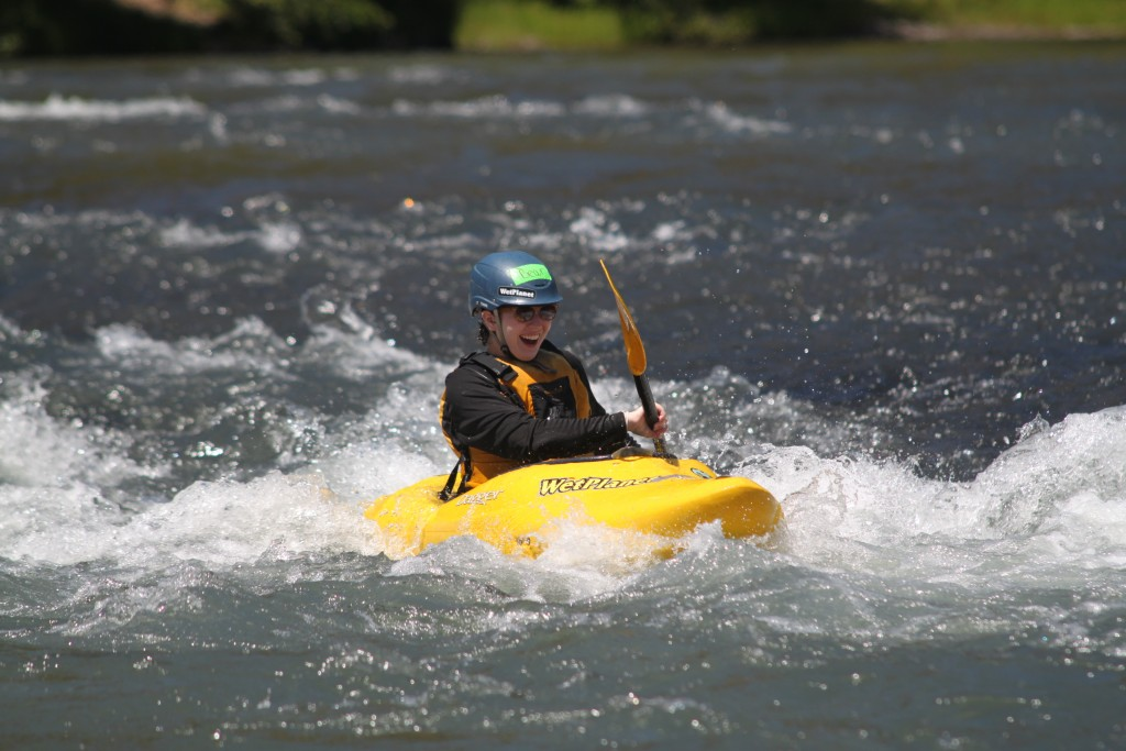 First Descents participant, Bear, at Graduation Rapid on the Klickitat River