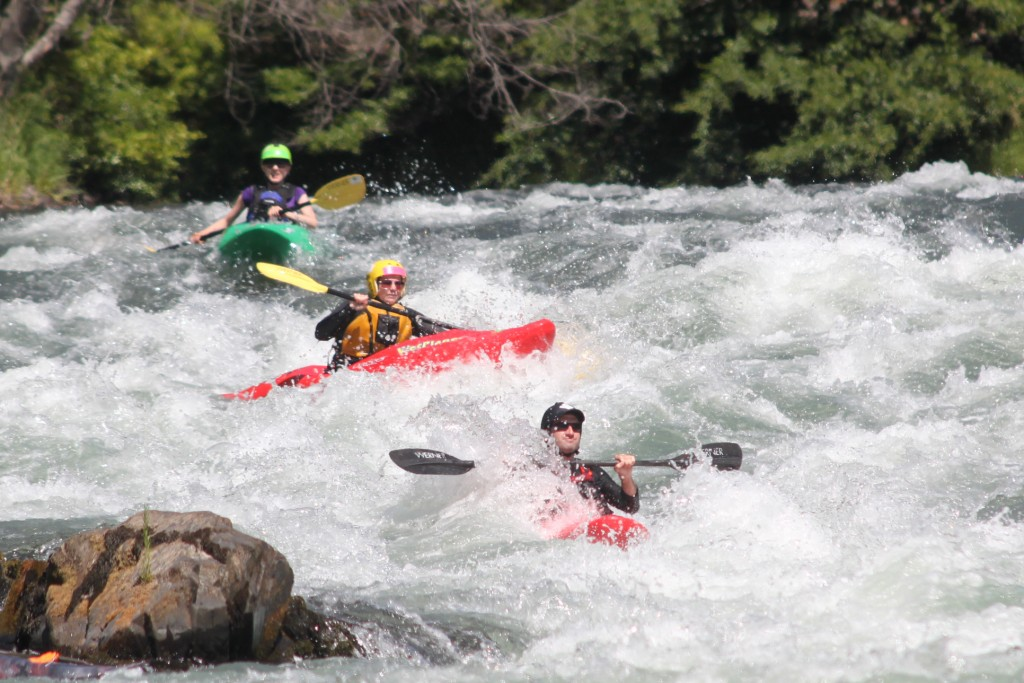 Rosie, Roo-Roo, and Senator make their way down Ishy-Pishy rapid on the Klickitat River