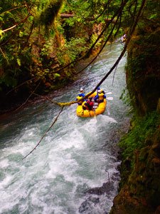 Rafting through old lava tubes on the White Salmon River.