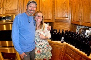 Courtney and her dad brewing their first batch of IPA together