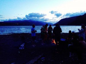An evening fire on the banks of the Columbia River.