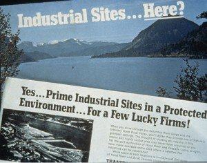 An industrial ad from the Gorge's pre-protected status. Photo from Friends of the Columbia Gorge