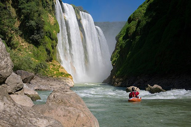 Kayaking below Tamul Falls Mexico
