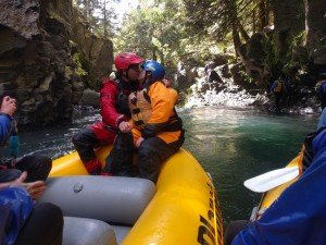 Tina and Cason exchanging I-do's at BZ Falls on the White Salmon River
