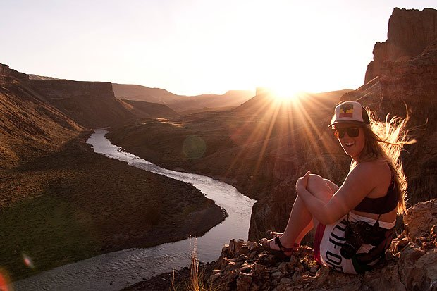 Wet Planet guide Cassidy Berg enjoying Owyhee sunset