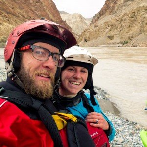 Susan and Adam during an expedition kayak trip in the Zanskar Canyon