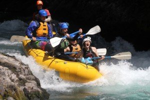 Alexa and Turner rafting the White Salmon during their wedding weekend