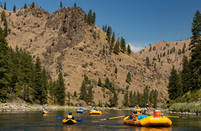 Rafts and Inflatable Kayak on Idaho's Main Salmon River
